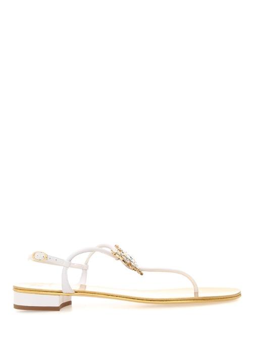 Bughi Beyaz Taşlı Toka Detaylı Kadın Deri Sandalet