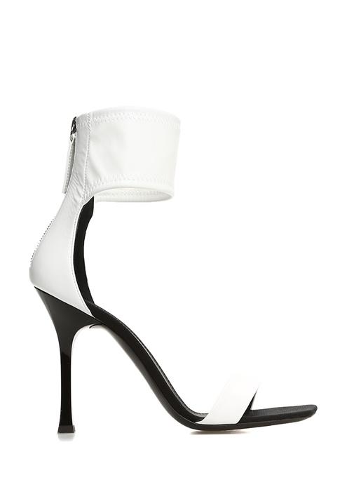 Demode 105 Beyaz Bilek Detaylı Kadın Deri Sandalet