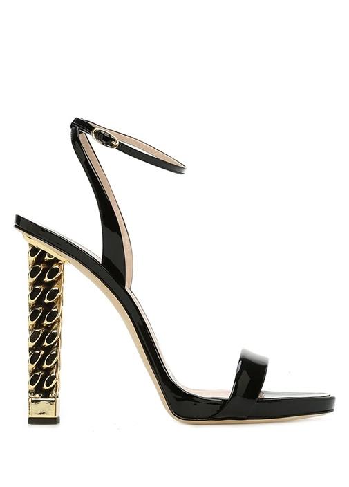 Carly Siyah Gold Topuk Detaylı Kadın Deri Sandalet