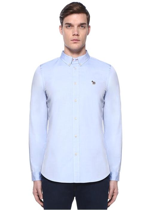 Tailored Fit Mavi Düğmeli Yaka Patchli Gömlek