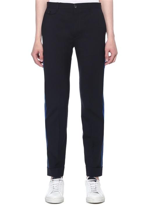Slim Fit Siyah Kenarı Şeritli Yün ChinoPantolon