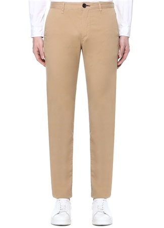 Erkek Slim Fit Bej Normal Bel Chino Pantolon 33 US