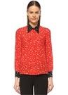 Kırmızı Siyah Yıldız Desenli Cepli İpekGömlek
