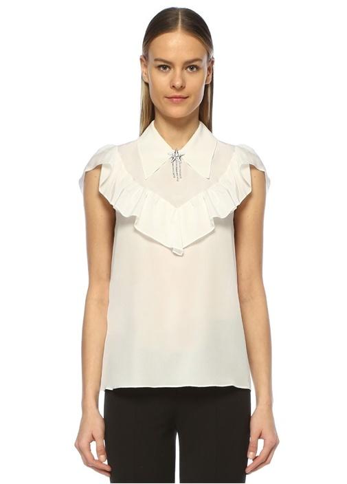 Beyaz Yakası Broşlu Volanlı Kolsuz İpekGömlek