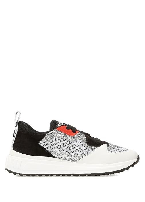 Beyaz Silver Simli Kadın Sneaker