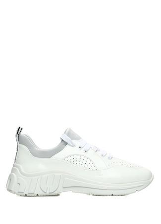 Miu Miu Miu Kadın Beyaz Delik Detaylı Rugan Sneaker 38.5 EU