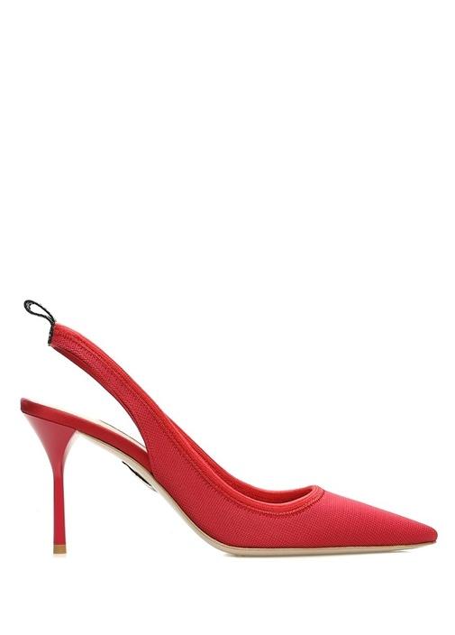 Kırmızı Dokulu Logolu Kadın Topuklu Ayakkabı
