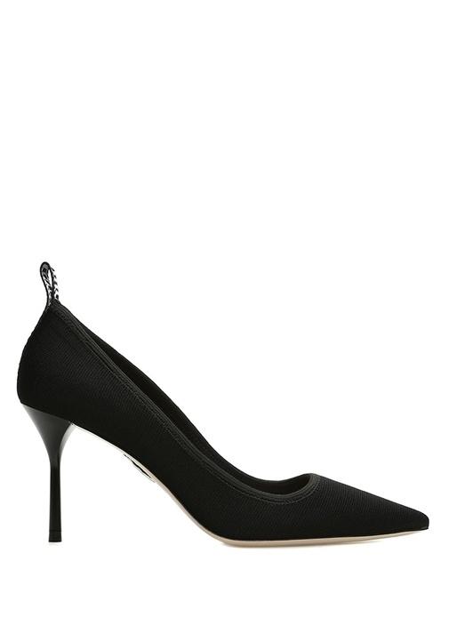 Siyah Dokulu Logolu Kadın Topuklu Ayakkabı
