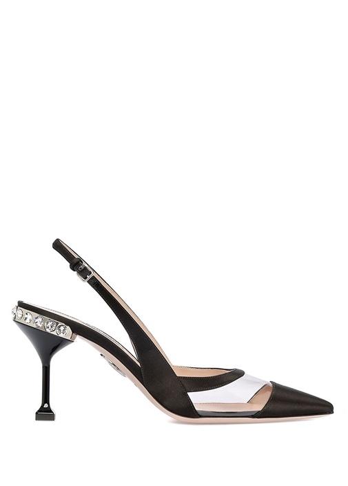 Siyah Transparan Bantlı Kadın Sandalet