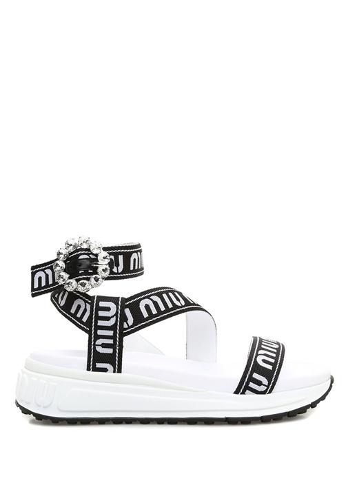 Siyah Beyaz Logo Jakarlı Kadın Sandalet