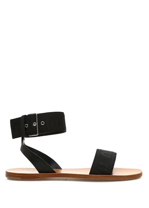 Siyah Logo Bantlı Deri Sandalet
