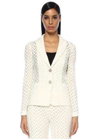 Beyaz Kırlangıç Yaka Zikzak Desenli Ceket