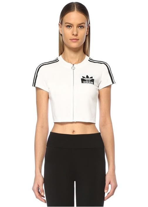 Olivia Leblanc Siyah Beyaz Fermuarlı Crop T-shirt