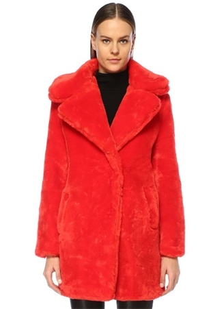 Glamorous Kadın Kırmızı Kelebek Yaka Suni Kürk Mont XS EU