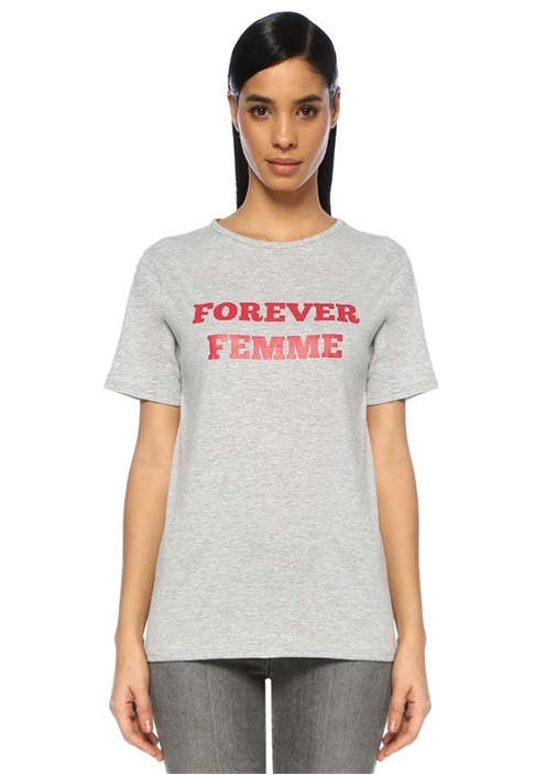 Forever Femme Gri Melanj Baskılı T-shirt