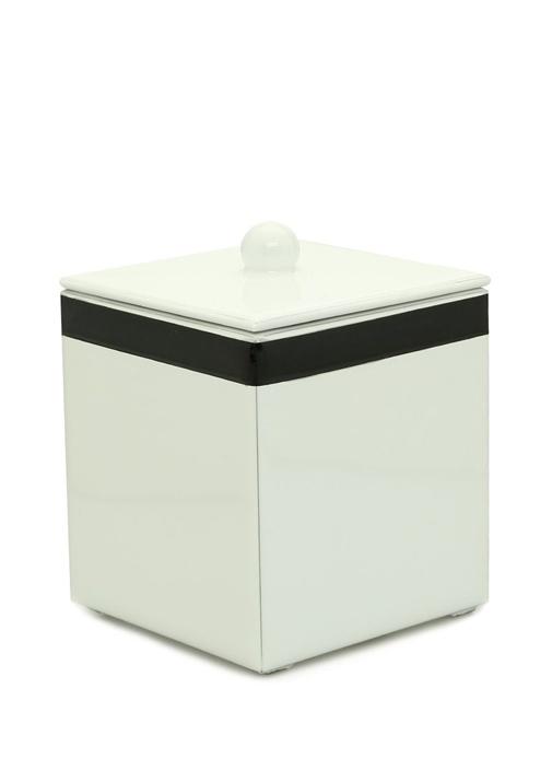 Regatta Tall Beyaz Şerit Detaylı Ahşap Çöp Sepeti