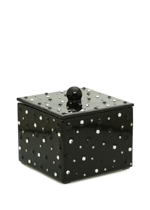 Stardust Short Siyah Taşlı Ahşap Çöp Sepeti