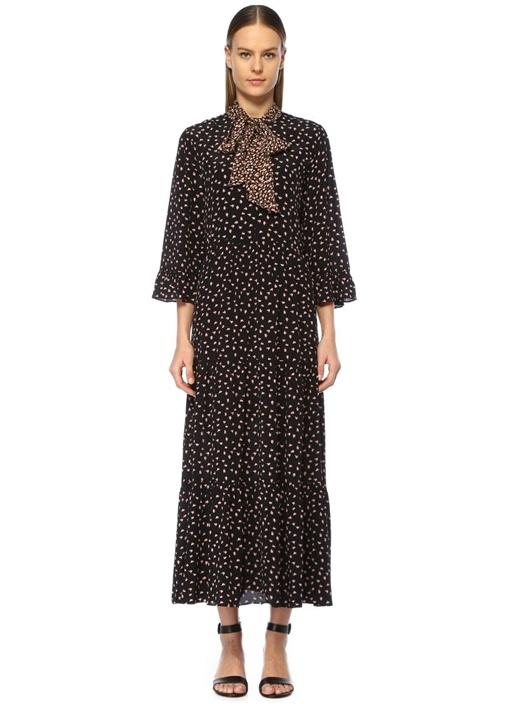 Syrenia Siyah Yakası Bağcıklı Çiçekli Midi Elbise