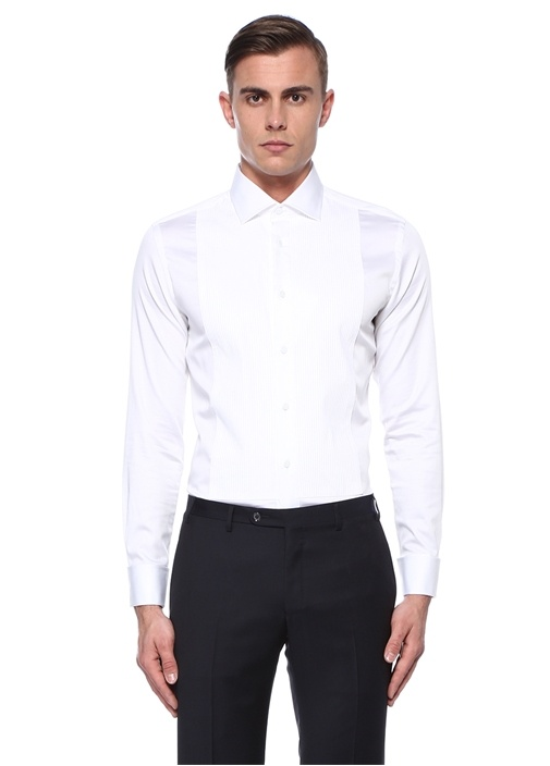 Slim Fit Beyaz Nervür Detaylı Smokin Gömleği