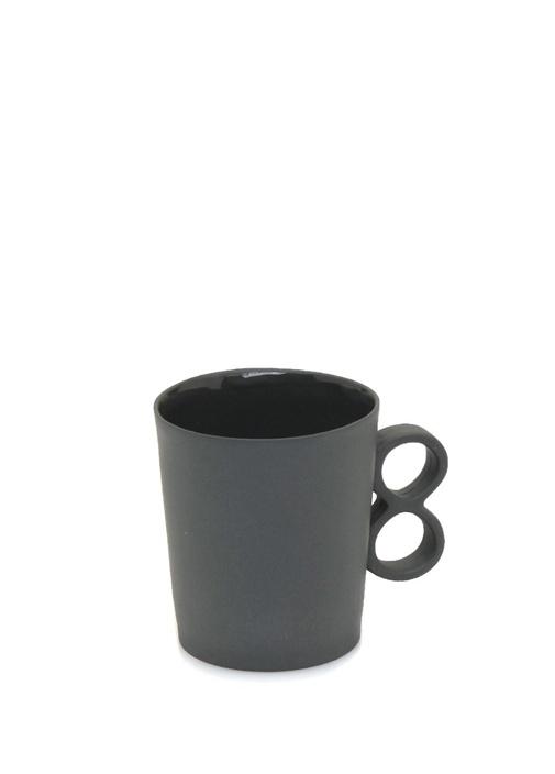 Siyah 8 Figürlü El Yapımı Porselen Kahve Fincanı