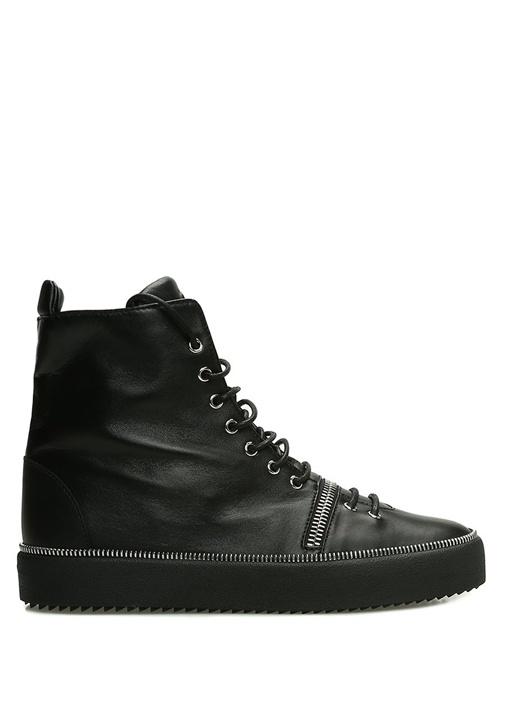 Siyah Fermuar Detaylı Erkek Deri Sneaker