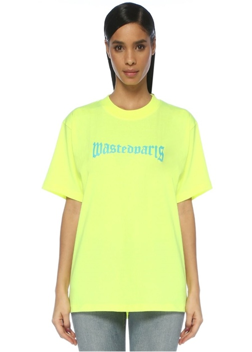 London Straight Fit Neon Sarı Logo Baskılı T-shirt
