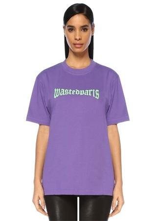 Wasted Kadın London Straight Fit Mor Logo Baskılı -shirt S Ürün Resmi