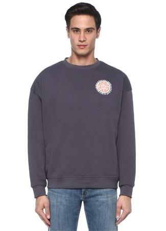 Antrasit Arkası Figür Baskılı Sweatshirt
