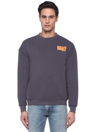 Antrasit Yazı Baskılı Sweatshirt