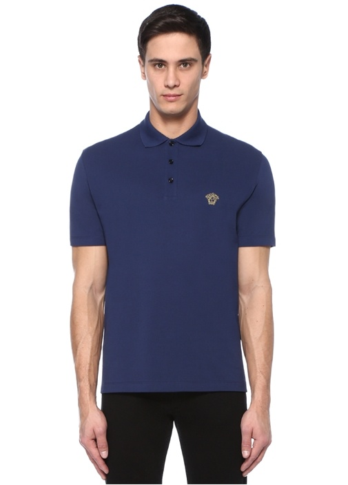 Lacivert Polo Yaka Logo Nakışlı T-shirt