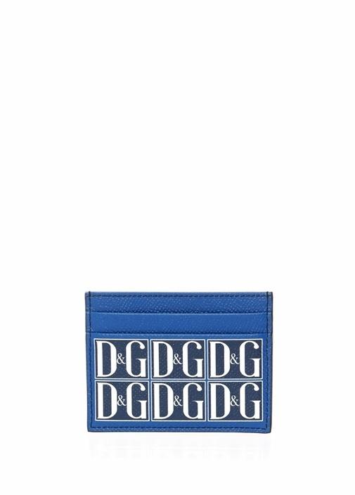 Mavi Logo Baskılı Erkek Deri Kartlık