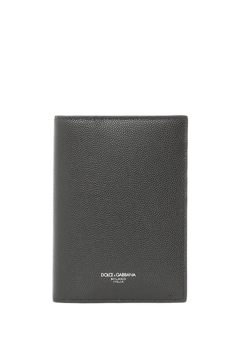 Siyah Silver Logolu Erkek Deri Pasaportluk