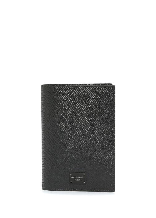 Siyah Dokulu Logolu Erkek Deri Pasaportluk