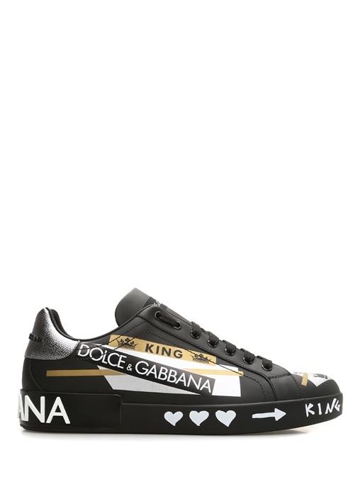 Portofino Siyah Haki Baskılı Erkek DeriSneaker