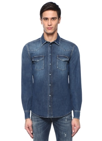 Mavi İngiliz Yaka 2 Cepli Denim Gömlek