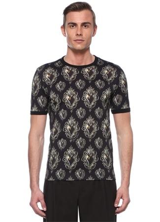Siyah Mikro Desenli Basic T-shirt