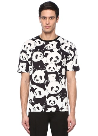 Siyah Beyaz Bisiklet Yaka Panda BaskılıT-shirt