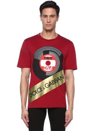 Erkek Kırmızı Gold Önü Logo Baskılı T-shirt 58 IT