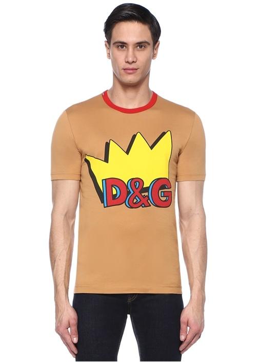 Kahverengi Bisiklet Yaka Taç Baskılı Basic T-shirt