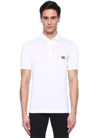Beyaz Logo Patchli Polo Yaka T-shirt