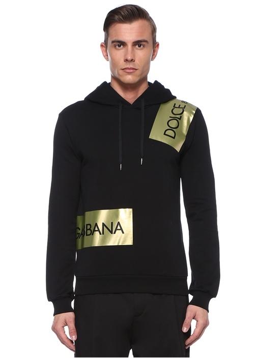 Siyah Gold Logolu Kapüşonlu Sweatshirt