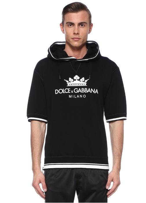 Siyah Kapüşonlu Logolu Kısa Kollu Sweatshirt