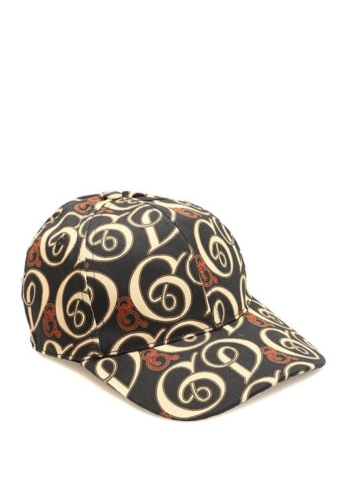 Bej Siyah Logo Baskılı Erkek Şapka