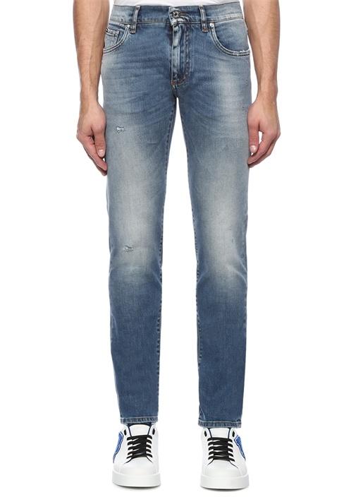 Skinny Fit Normal Bel Yıpratmalı Jean Pantolon