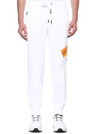 Beyaz Çapraz Logo Baskılı Jogger Eşofman Altı