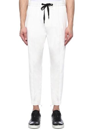 Beyaz Siyah Şerit Detaylı Logolu Pantolon