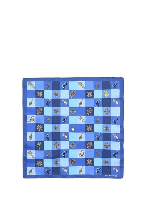 Mavi Karışık Desenli İpek Poşet Mendil