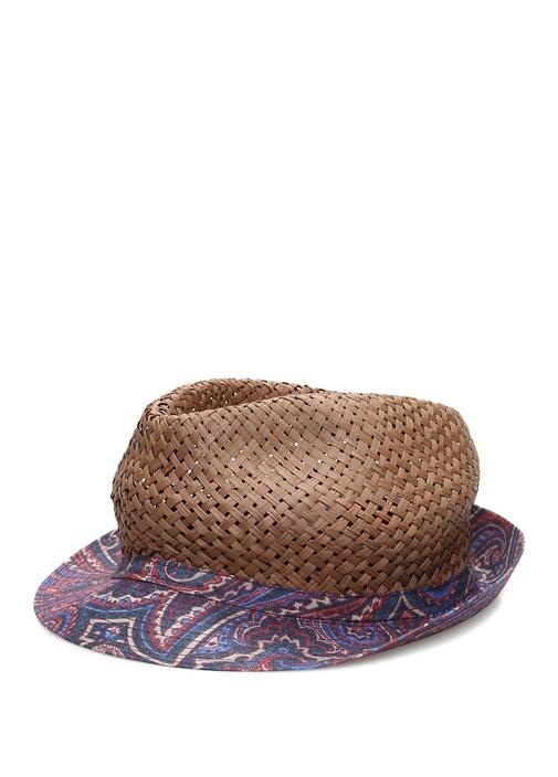 Mavi Etnik Desenli Hasır Dokulu Erkek Şapka
