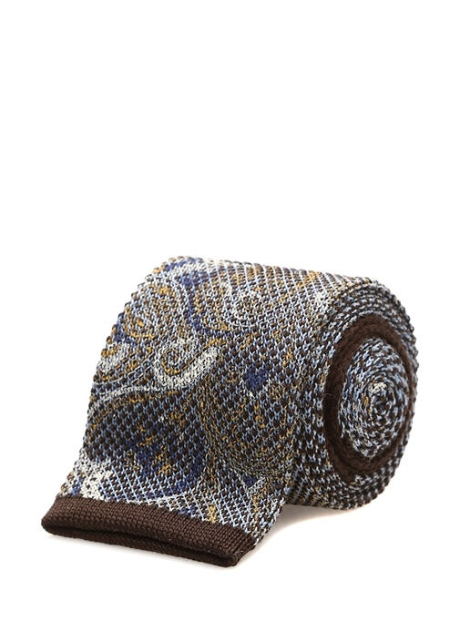 Mavi Kahverengi Şal Desenli İpek Kravat