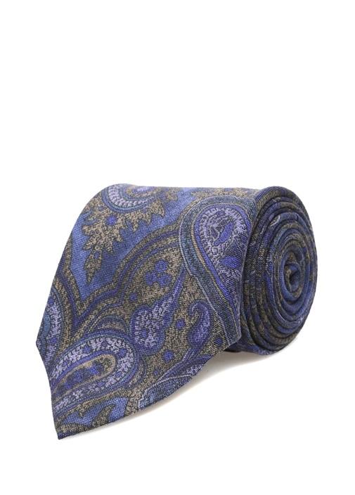 Mavi Şal Desenli Keten Kravat